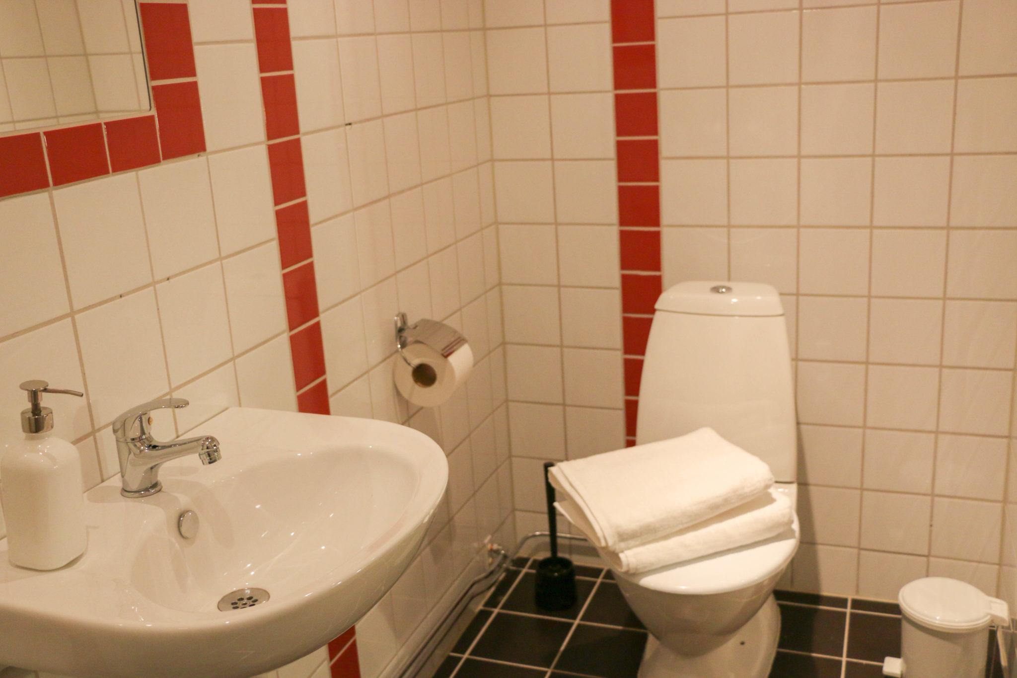 Hotell Hedåsen Twinrum, toalett med handdukar